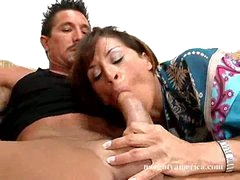 Super hawt Devon Michaels deliciously bonks her lover's shlong with her throat