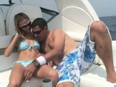 Blonde michelle lays on the boat and gets her slit licked