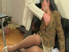 Mature milf in stockings sucks and bonks younger fellow