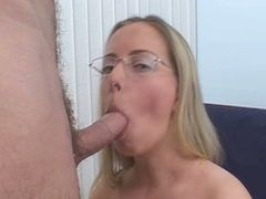 Blonde in glasses sucks cock and gets pussy pounded