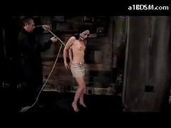 Girl With Moutgag On High Heels Getting Tied Up And Hanged Nipples Tortured With Clips In The Dungeon