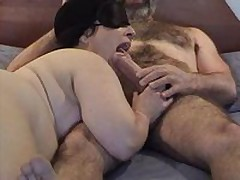 Masked chubby mature wife gives good sucking and licking  to her hairy hubby\'s big dick - short but sweet