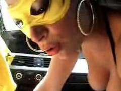 Here's one horny couple fucking in the car in this homemade fucking movie. This sluts wearing a mask and sexy underware as this babe gives head like a true professional and he copulates her right in her tight shaven pussy