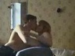 Amateur cam stealthily films sexy couple having a steamy fuck session with ardent kisses and deep cock riding.