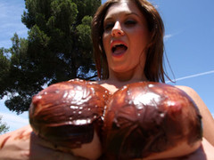 Sara Stone has the almost any excellent set of huge freakish natural mambos that are just beautiful. This Babe likes to swallow cum right off her biggest mambos after a fine hard fucking. These FREAKISH mambos receives u hard instantly during the time that they bounce up and down, and covered with chocolate frosting...