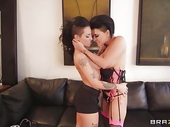 Watch slutty lalin girl Eva Angelina and hawt Caucasian Christy Mack playing their little lesbian game, naked! Watch their busty bodies with nice bog boobs, excellent butts and shaved pussies. Those brunettes were kissing every other, laughing and getting hornier as their nipples were getting harder! But in a short time that chap came and started this hawt threesome with them!