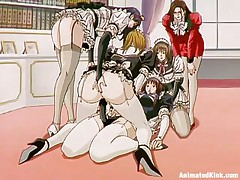 The maids are listening to their owner and they fuck. This kinky lady puts one of the girls to fuck another one with a strap on and she does as requested, first with a bit of shame but after a while these sluts are getting horny and they love it so does the mistress as she masturbates watching them.