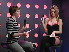 Two hawt girls speak live about sex in a jewish manner. They are broke and trying to buy something, but don`t have sufficiently money. These jokes about sex are truly turning them on. Besides looking for Mr. Right, the blond wants to go down on her girlfriend for some money. She takes her bra off, it`s so hot.