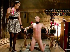 Micah Andrews is bound up so he can't move whilst dominatrix Chanel Preston oozes sexy candle wax all over his body. She oozes the wax on his chest, tongue, and schlong and balls. After choking him until he gasps for air, that babe whips his tiny schlong red.
