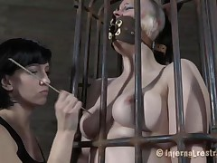 Yes bitch, u merit this punishment. You thought that anything needs to be your way and always had lack of respect. Let's watch u in that cage how punk u are now. It's a bit humiliating for such a bad a-hole girl like u to be caged, tied and pussy rubbed isn't it? Stay there and shut the fuck up.