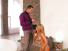 A very hot and horny blonde feel the need for cock, gets on her knees and starts sucking this guy's dick with a thirst that only his cock can quench. Then they get on the bed and after a little more dick sucking she starts riding his cock while screaming with pleasure. Will he fuck her good enough?