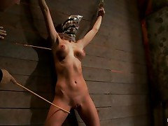 See this slut as this babe is tied on the wall and has a bag on her head. This babe is suffocating slowly and to increase the pleasure of being dominated they punish her hot body by thrashing her on the thighs and belly with a stick. After thrashing this babe acquires a vibrator on her cunt and moans with pleasure and pain. She's so hot with those clamps on her hard nipples and, will they add greater amount weights?