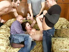 Hot bitch Nikita gets her ass gangbanged by her hot five boyfriends. She really likes being treated as the slut she is, from behind and deep in her mouth. With her titties and feet spanked, she is fucked so hard by them, one after another. Her tight ass hole is good, but deepthroating is her specialty!