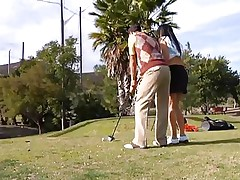 Why teach her how to play golf when she can play with something that she's already used with. The sexy brunette milf leaves the golf cross and takes this guy's hard cock instead. She gives him a few sucks and then goes on top to ride the guy like a fucking whore! See how deep she takes it while rubbing her clitoris?
