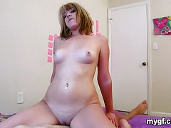 Lovely blonde rides the cock and before long she is on her back and getting royal screwing from the big cock. She moans and groans before turning around to give a rollicking fuck in her ass hole from a cock that is already huge from the effort and pounds her ass like a trip hammer on the automatic.
