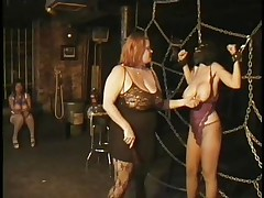 Here's a oldie but goldie bdsm. Mistress Bianca taunts her female sex slave not only with her big delicious boobs but with her skills too. She ties Carla's big breasts with rope and squeezed them hard after she played with them. Carla will have to obey the will of her mistress because she's tied hard