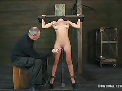 Well this blonde blue eyes angel seems to have some problems. She is secured in a bondage device and kept on her feet with a dildo inside her womb and an executor that rubs her clitoris. She moans and flexes but knows that nothing will stop him playing with her snatch. Does he need to use some hardcore tools?