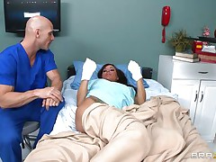 Gia DiMarco is sick. Her nurse Johnny Sins takes care of her by giving her a soapy bath. He lathers up her round tits with soap making 'em nice and clean. This is tit engulfing at it's finest. He ends up in the tub, too.