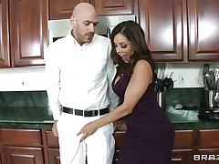 Johnny Sins and Francesca Le was having quite a fun in the kitchen. Johnny got a boner by looking at Le's cleavages and Le was helping Johnny to cool off by giving him a blowjob. When Ariella Ferrera came in the kitchen she also wanted to join the suck party and lucky Johnny gets a hell of a duet blowjobs while tese hot and sexy milf are taking out their boobs!
