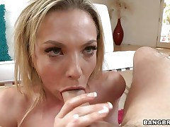 She may not be the best gymnast but she really knows how to suck cock in some special positions. Watch those pink lips wrapping around the guy's cock and how she takes it from behind. What a naughty bitch Baily is, surely she will get some jizz for all that effort, she deserves it!