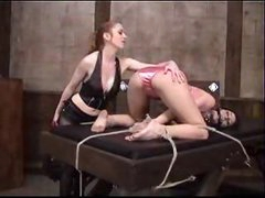 Girl in satin panties bound and spanked