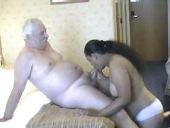 Chubby babe from India grinding on white old man's meaty cock