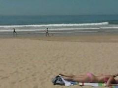 Angel masturbating at the beach