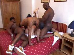 Black studs double penetrate white chick