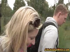 Real non-professional girlfriend outdoor oral-sex