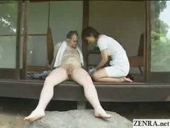 Japanese CFNM countryside cock cleaning service with busty girls