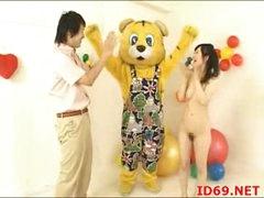 Japanese AV Model tastes her own love tunnel
