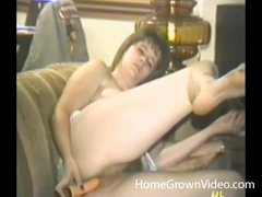 Double vibrator act with a retro chick