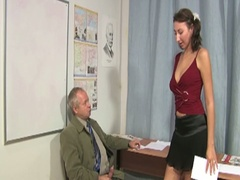 Old teacher gets brunette to engulf and fuck