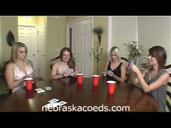 Hot college babes play disrobe poker